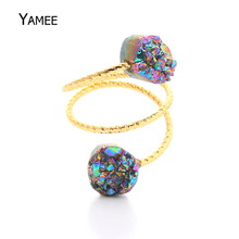 Rainbow Crystal Quartz Wire Wrapped Finger Rings Gold Natural Double Gem Stone Druzy Ring Adjustable for Women Men Drusy Jewelry