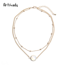 Artilady natural crystal 2 layer choker necklace gold color chain opal stone pendant necklace for women jewelry(China)