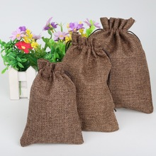 High Quality Brown Christmas/Wedding Gift Pouch Decorative bags Linen Cotton Drawstring Bag Product Packaging Bags 5pcs(China)