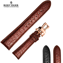 Reef Tiger/RT Watch Band Alligator Strap for Men 22 mm(China)