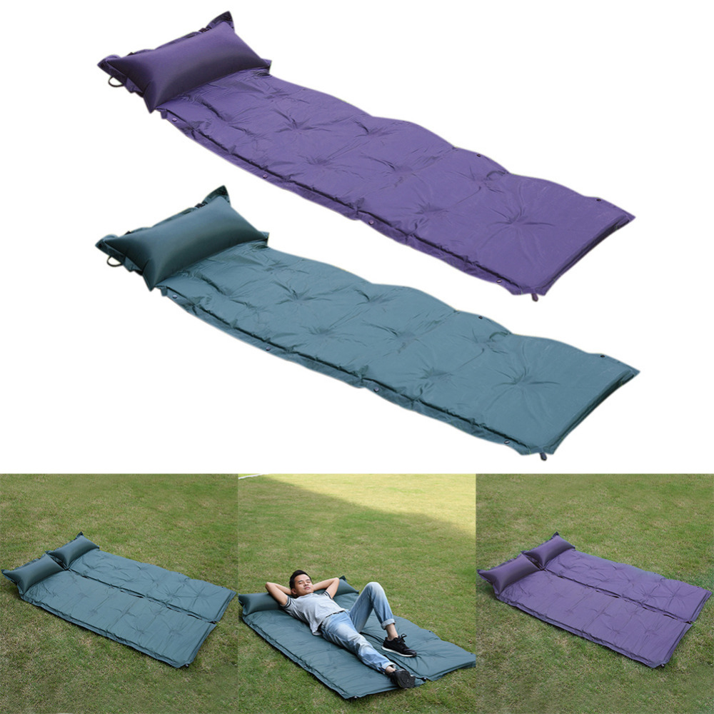 High quality Outdoor Moisture-Proof Mat Outdoor Nap Pad Camping Waterproof Polyester Mat PVC Automatic Inflatable mattresses<br>