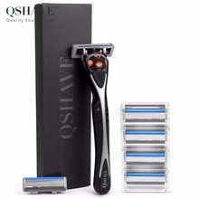 Qshave Black Spider Man Manual Wet Shaving Razor Can choose Gift Box Can Design Your Name on Handle (1pc Handle, 6pc X5 Blade)