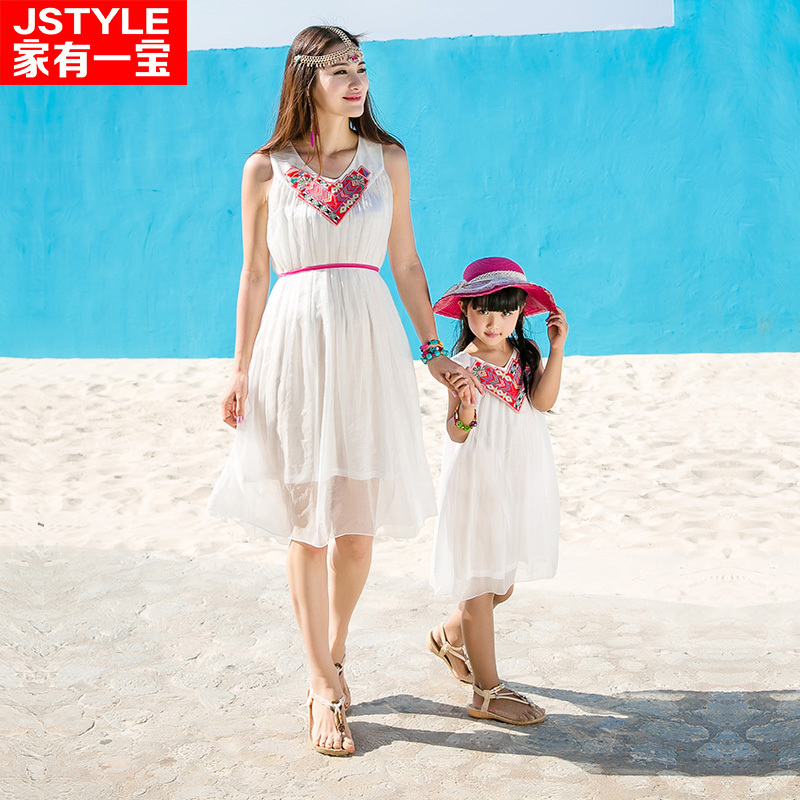 2016 Matching Mother Daughter Dresses Girl and Mother Chiffe Maxi Dress Parent-child Outfit Ma e Filha Girl White Maxi Dresses<br>