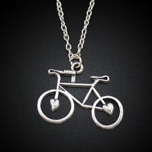"Women's Jewelry Vintage Silver Tone 1.2""X0.9"" Bicycle Pendant Short Necklace DY128 Free Shipping"