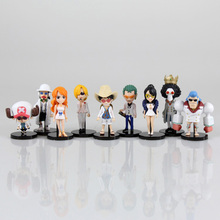 New 9 Styles White Dress ONE PIECE Action Figure Luffy Nami Robin Chopper Cool Anime Model Toy Pendant Keychain Gift Full Set