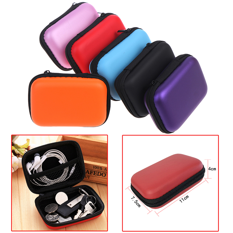 Mini Zipper Hard Headphone Case Earbuds Pouch Box PU Leather Earphone Storage Bag Protective USB Cable Organizer 11x7.5x4cm