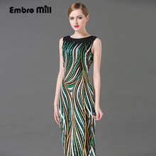 High-end long dress with flower summer new Euroepan fashion runway elegant sequins beautiful sleeveless lady maxi full dresses