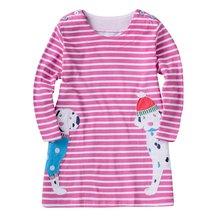 Fashion Autumn Kids Cotton Clothes Girls Applique Cat Embroidery Cartoon Dress Long Sleeve Dress 2-7years