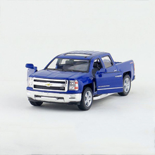 Kinsmart pull back car 1:46 Silverado Pickup trucks Blue 1/46 alloy models Diecast Metal Pull Back Car Toy For Gift Collection(China)