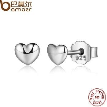 BAMOER 100% Стерлингового Серебра 925 Изящные Простые Сердца Серьги Стержня для Женщин Серебра Небольшие Серьги Изящных Ювелирных Изделий brincos PAS441