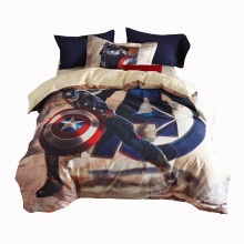 boys bedding set queen twin size 100% cotton quilt cover bed sheet pillowcase Captain America's Shield