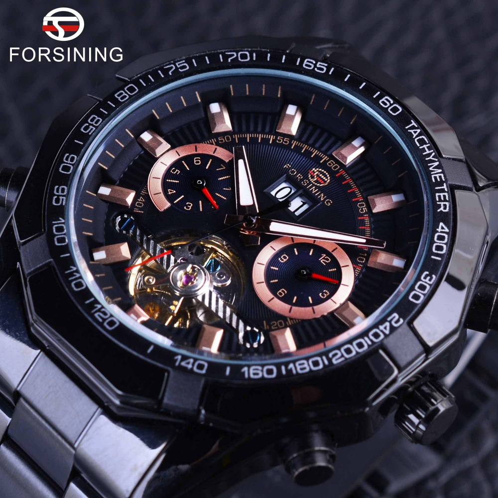 Forsining 2017 Sport Racing Design Black Stainless Steel Mens Watches Top Brand Luxury Automatic Tourbillion Male Wristwatches<br>