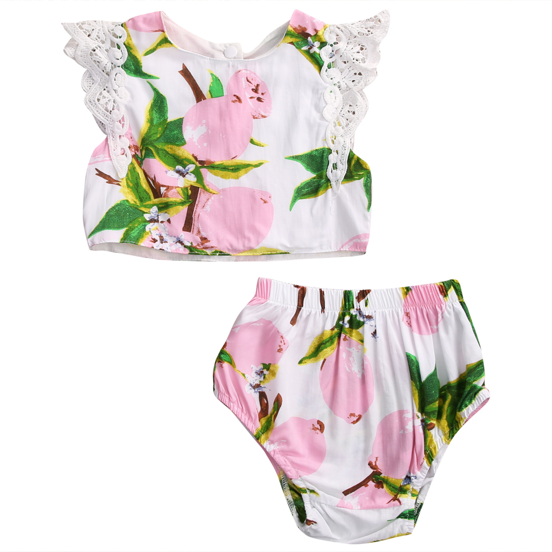 Newborn Baby Girl Clothes Set 2Pcs Set Floral Baby Girls Clothes Lace Sleeve Tops Pants Shorts Summer Outfits<br><br>Aliexpress