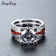 RongXing Classic Round CZ Birthstone Ring Set Women Wedding Jewelry White Gold Filled Red 5A Zircon Engagement Rings Gift RW1824