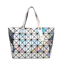 New Brand Messenger Bag Candy Colors Diamond Women Fashion BAOBAO Shoulder Bag Geometry Sequins Mirror Plain Folding Bags Women(China)