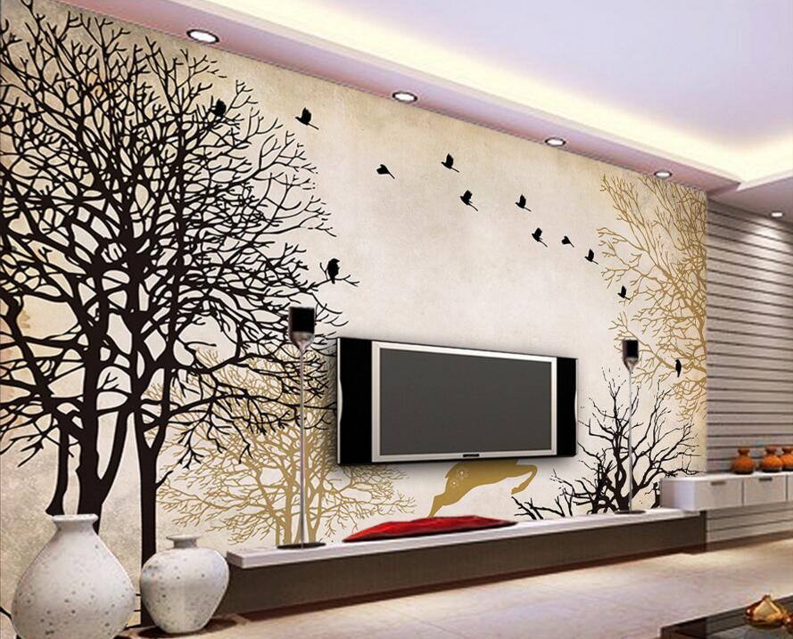 Custom 3d murals papel de parede,Forest birds and reindeer for living room tv sofa wall bedroom 3d wall murals wallpaper<br>