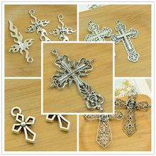 alloy hollow cross shape DIY charm Christmas pendant flower carved out jewerly accessories finding antique silver necklace hot(China)