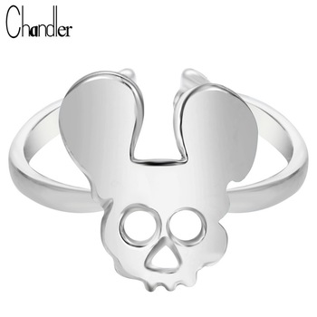 10pcs Mickey Skull Ring For Women Mouse Adjustable Midi Finger Bague Anillos Anel Silver Gold Plated Trendy Femme ringen Jewelry