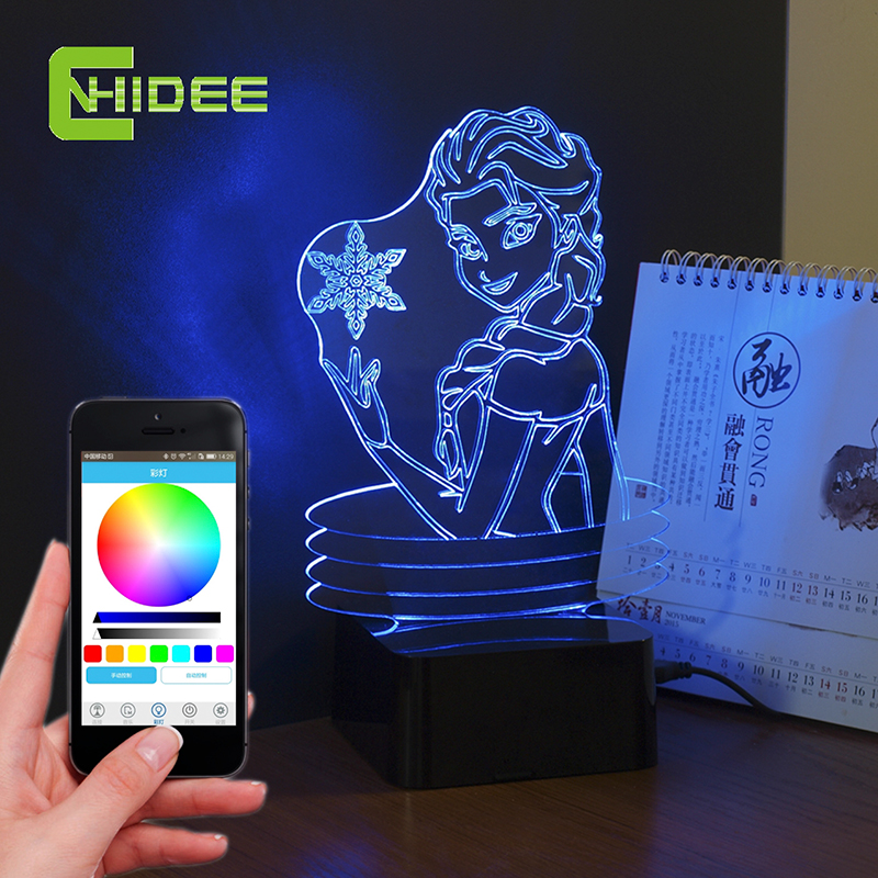 USB Creative Holiday Gifts for Baby Sleep Lampe Remote Control 3D Music Night Lamp Elsa Anna Cartoon Led Table Nightlights<br>