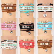 (10Pcs/Lot) Infinity Love Herbalife Bracelet & Bangles Heart Charm Wrap Rope Handmade Bracelets Jewelry For Women(China)