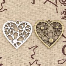 3pcs Charms heart flower 29*29mm Antique charms,pendant fit,Vintage Tibetan Silver Bronze,DIY bracelet necklace(China)