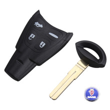 Remote Key Shell Case Fob 4 Button With Insert Key Blank Blade For SAAB 9-3 9-5 93 95 Free Ship