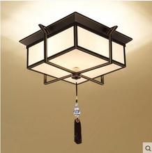 Square led iron retro new Chinese ceiling lamp living room ceiling lamp bedroom study hotel antique modern simple LO71411(China)
