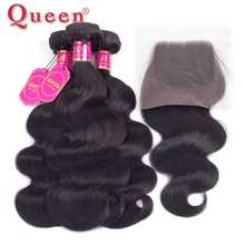 Queen Hair Products Brazilian Body Wave Hair Weave Bundles With Lace Closure Brazilian Human Hair Bundles With Closure Extension(China)
