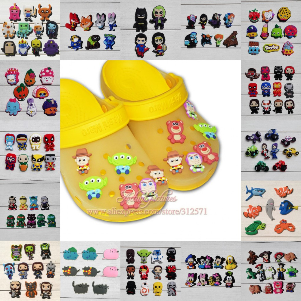 Hot cartoon 4-19pcs Avengers Toy Story Star War Pinding Nemo Pusheen shoes buckle accessories shoe charms fit party gift<br><br>Aliexpress