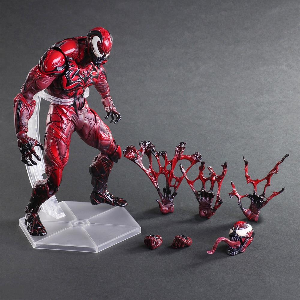 Play Arts Spider Man Figure Spider Venom RED LIMITED Spider PA Secret Wars Peter Parker 27cm Action Figure Doll Toys Kids Gift<br>