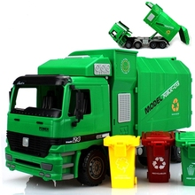 2017 New Inertia Sanitation Truck Toys Simulation Auto Dumping Trash Truck Kids Educational Toys Best Gifts