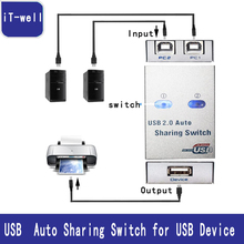 T-well New Brand USB 2.0 hub USB splitter Auto Sharing Switch Computer Peripherals For 2 PC Computer Printer For Office Home Use(China)