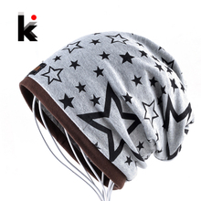 Fashion Women Turban Hat Scarf Beanie Ladies Autumn And Winter Multi-use Skullies Bonnets For Man Unisex Star Cotton Casual Cap(China)