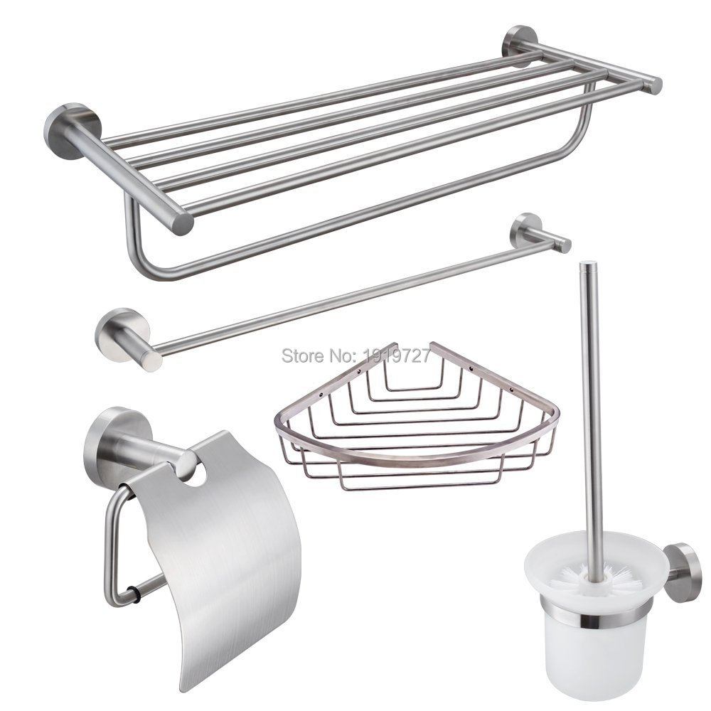 stainless steel 5 piece bathroom accessories kit brushed hardware set towel rack towel bar wall
