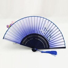 Classic Bamboo Silk Blend Japanese Chinese Handmade Pocket Fan Folding Hand Held Fan
