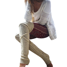 Winter Knitted Crochet Knee Long Stocking Women Sexy Thigh High Stocking Stay Up Leg Warmers Boot Legging Collant Femme(China)