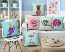 Magic Cube Cushion Covers Skull Pineapple Flamingo Birds Thick Linen Cotton Pillow Cases 45X45cm Bedroom Sofa Decoration