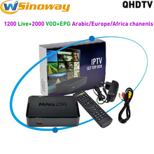 French IPTV Set Top Box MAG 250 With 1 year QHDTV Arabic IPTV Subscriptions Include Europe Netherlands Turkish Africa IP TV