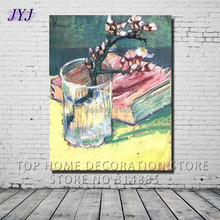 Blossoming Almond Branch In A Glass With A Book 1888 by Vincent Van Gogh  Handmade Oil Painting Canvas Wall Art Gift Decor VG043