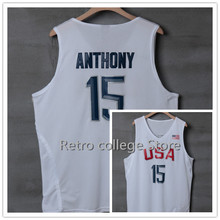 #15 Carmelo Anthony #12 DeMarcus Cousi Team usa Basketball Jersey Embroidery Stitched bule white Retro throwback College jerseys(China)