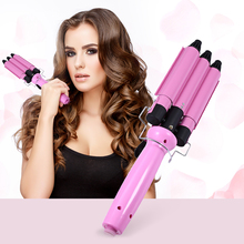 GUSTALA Professional High Quality Hair Waver Wave Curler Ceramic Hair Curling Iron 3 Barrel Clamp EU Plug Electric Magic Curler(China)