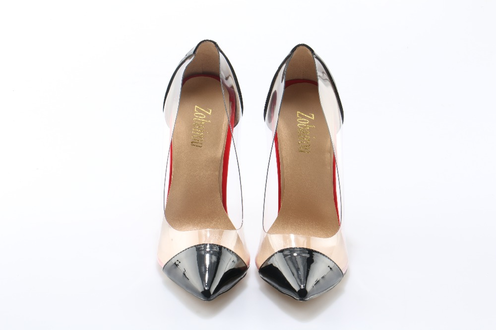 Zobairou Women Pointed Toe Dress Shoes Popular Transparent PVC High Heels Pumps Slip On Wedding Party Dress Shoes For Lady