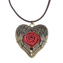 Handmade Crafts Retro Gold Red Roses Peach Heart Pendant Necklace Women Fashion Wings Star Hollow Necklace 1PC