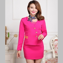 Airline Stewardess Uniforms Set Occupation Work Clothes Beautician FootStore Clothing Drum Technician Fight Attendant Costume(China)