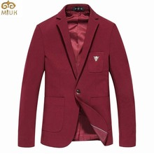 MIUK Plus Size Cotton Wine Red Blazer Men 5XL 6XL Solid Slim Fit Veste Homme Casual Business Blazer Masculino 2017 New Arrival