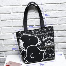 Free shipping 27cm Snoopie Cartoon Dogs Women Portable Bags Black Thick Canvas Bag