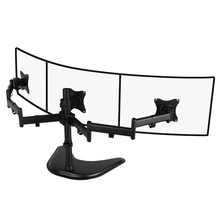 steel triple monitor 27inch lcd tv table mount three monitor desk support Led bracket lcd holder(China)
