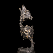 Best  Selling  Bronze Wolf Heads sculptures bronze statue figurines Retro  Artwork Office Decoration