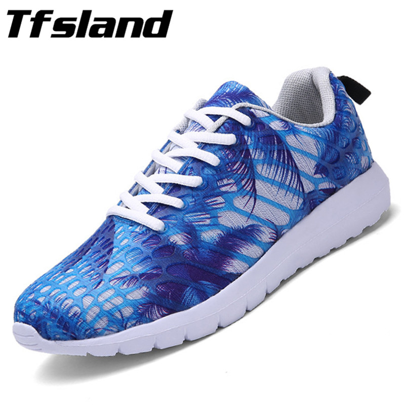 Tfsland New Lovers Breathable Camouflage Sneakers Women Men Sport Shoes Mesh Net Surface Sneakers Comfortable Soft Running Shoes(China (Mainland))
