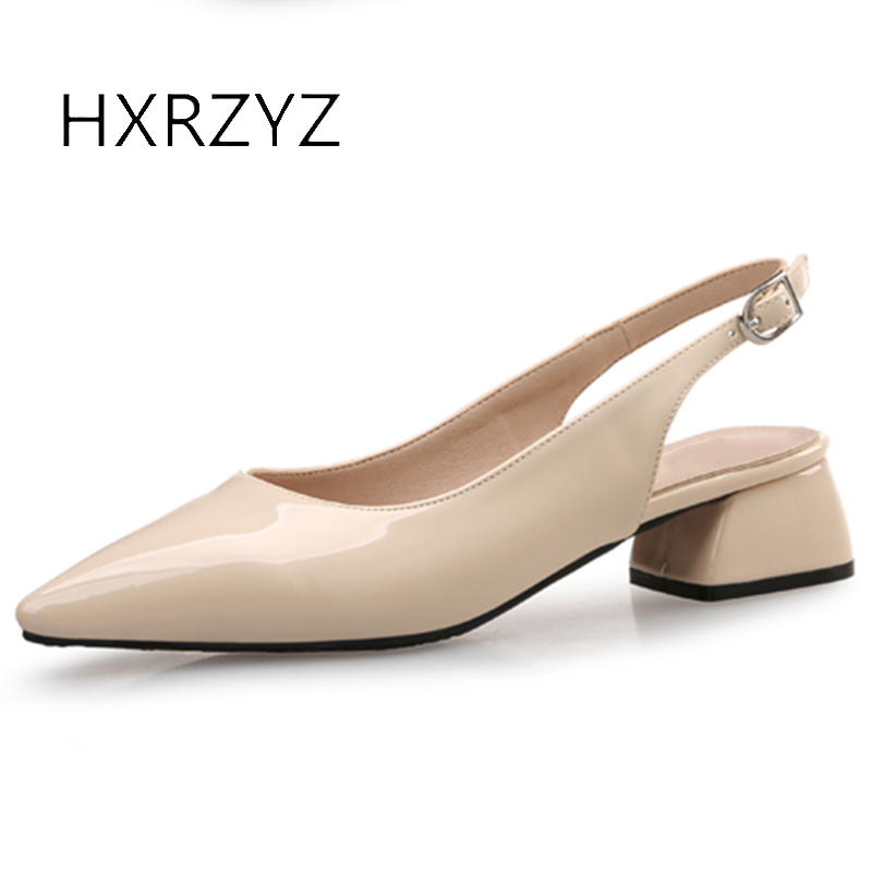 HXRZYZ women pointed toe shoes leather high heels spring and summer fashion ladies thick heel shallow mouth buckle women shoes<br>